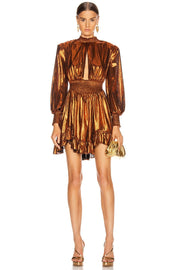 Bronze Metallic Long Sleeve Mini Dress