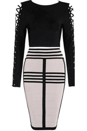 Lace Up Sleeve Bandage Skirt Set - DIOR BELLA