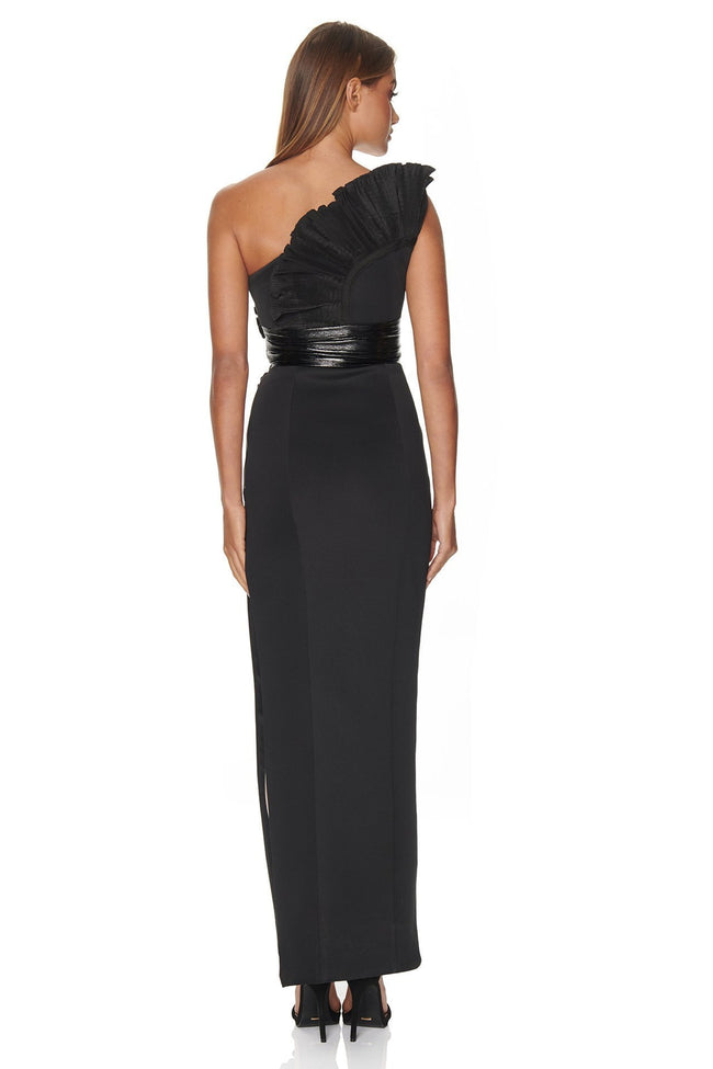Black One Shoulder Ruffled Midi Dress - DIOR BELLA