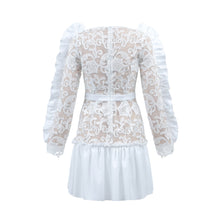 White Ruffle Sleeve Lace Mini Dress