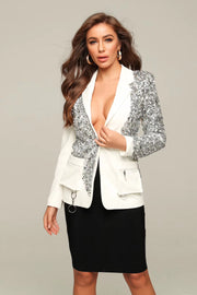 White And Silver Sequins Blazer Jacket
