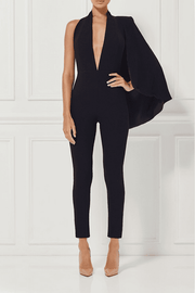 Black Cape Bandage Jumpsuit - DIOR BELLA