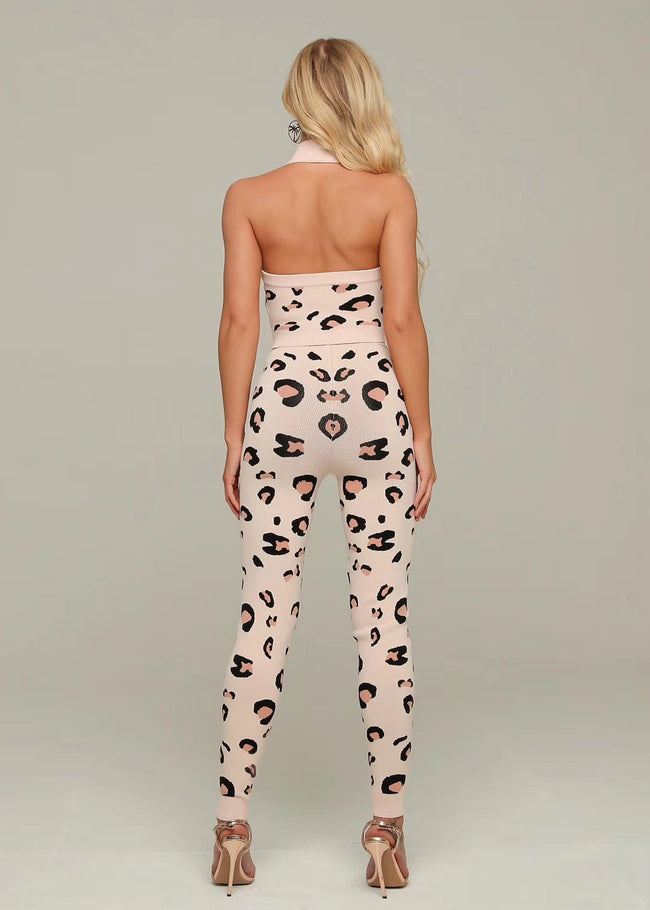 Knit Animal Print Crop Top Pant Set - DIOR BELLA