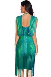 Green Fringe Foil Print Bandage Mini Dress - DIOR BELLA