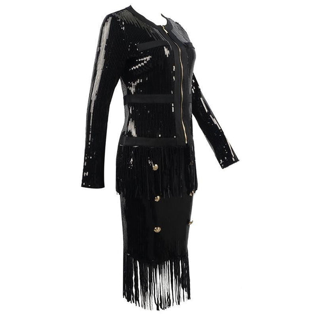 Black Sequins Long Sleeve Fringe Dress - DIOR BELLA