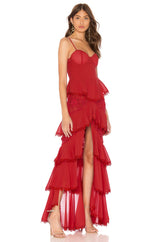 Roslyn Red Ruffled Lace Maxi Dress - DIOR BELLA