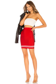 Red And White High Waist Bandage Mini Skirt