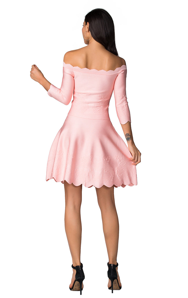 Pink Off Shoulder Bandage Skirt Suit