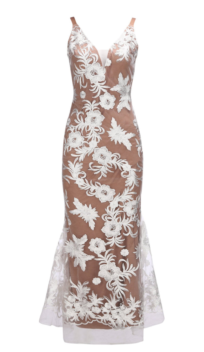 White Floral Embroidered Tulle Open Back Gown - DIOR BELLA