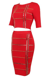 Red Studded Bandage Skirt Set - DIOR BELLA
