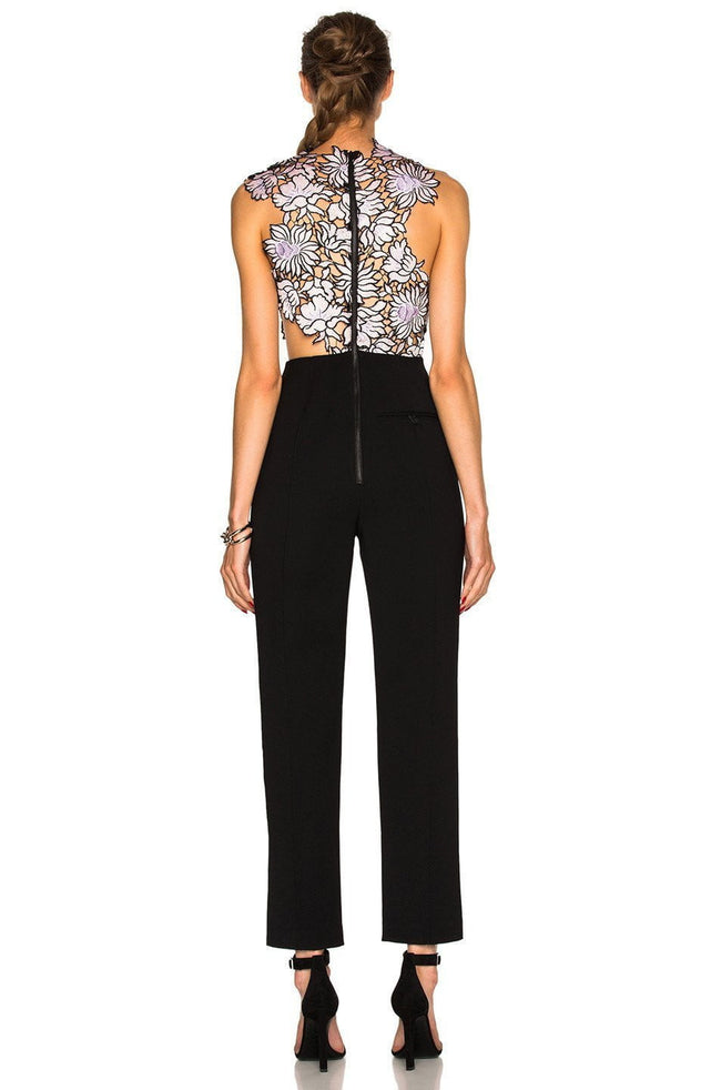 Blue Multi Embroidered Lace Jumpsuit - DIOR BELLA