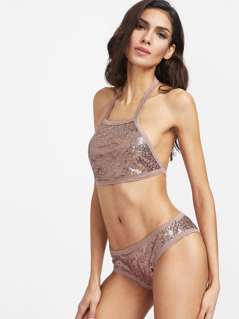 Blush sequins Two-Piece Swimsuit - DIOR BELLA