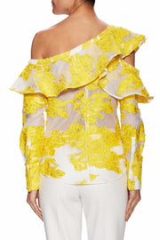 Yellow Asymmetric Ruffled Off Shoulder Blouse - DIOR BELLA