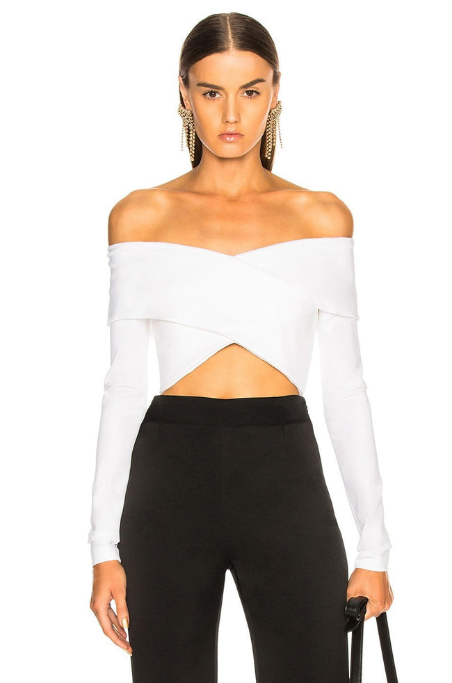 Off Shoulder Long Sleeve Bandage Top - DIOR BELLA