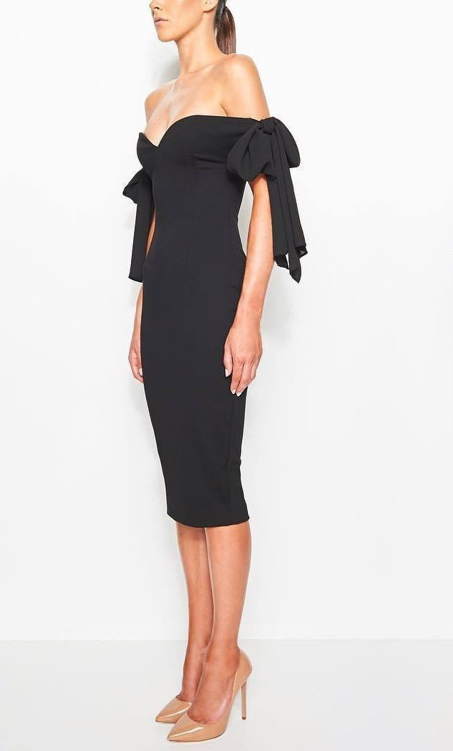 Bow Lover Off Shoulder Bodycon Midi Dress - DIOR BELLA