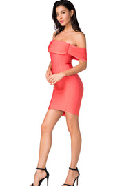 Peach Rushed Off Shoulder Bodycon Mini Dress