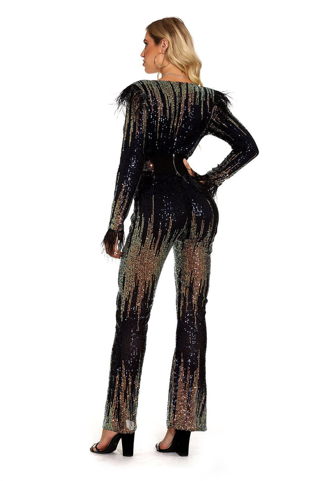 Black Gold Sequins V-Neck Long Sleeve Jumpsuit - DIOR BELLA