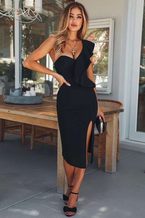 Ashley Black One Shoulder Bodycon Dress