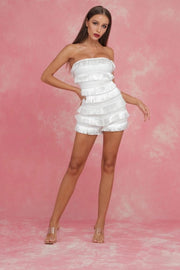 White Strapless Fringe Bandage Playsuit - DIOR BELLA