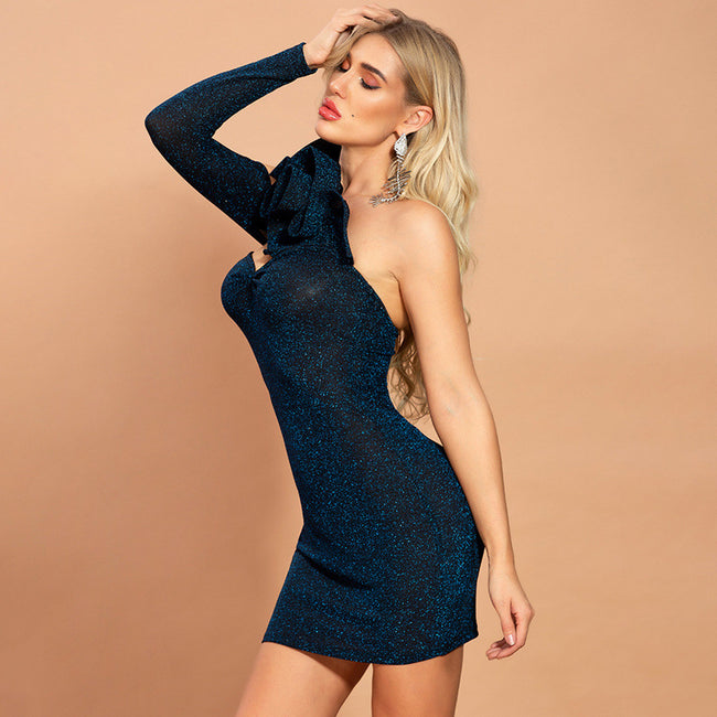 Blue Black One Shoulder Mini Dress