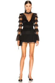 Ruffled Tulle Long Sleeve Mini Dress - DIOR BELLA