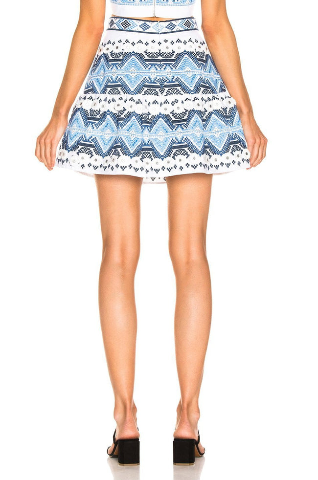 Embroidered Blue And White Mini Skirt - DIOR BELLA