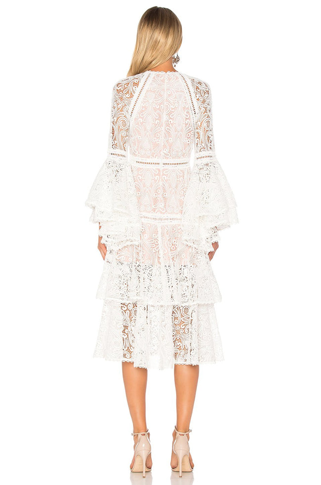 White Luxe Bell Sleeve Lace Dress - DIOR BELLA