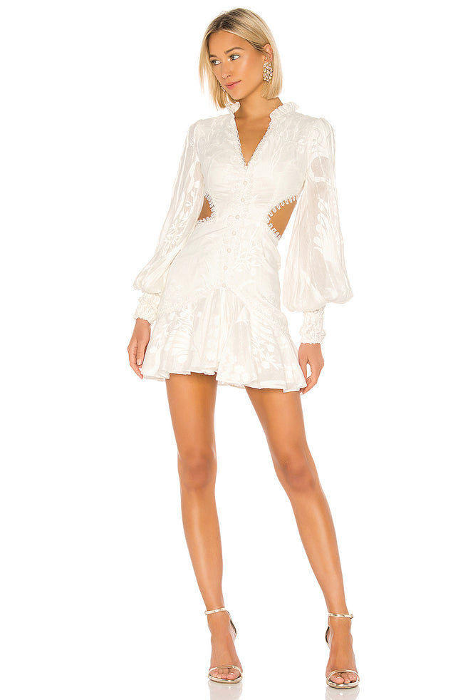 White Cutout Side Puff Sleeve Mini Dress