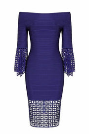 Tori Bell Sleeve Waffle Textured Bandage Dress - DIOR BELLA