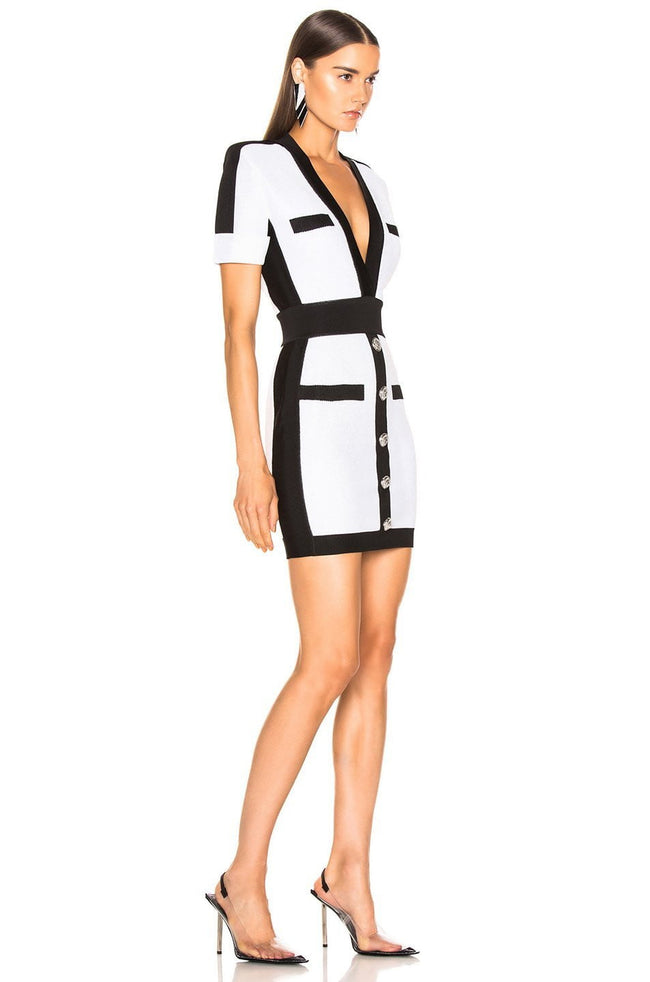Black And White Button Front Bandage Dress - DIOR BELLA