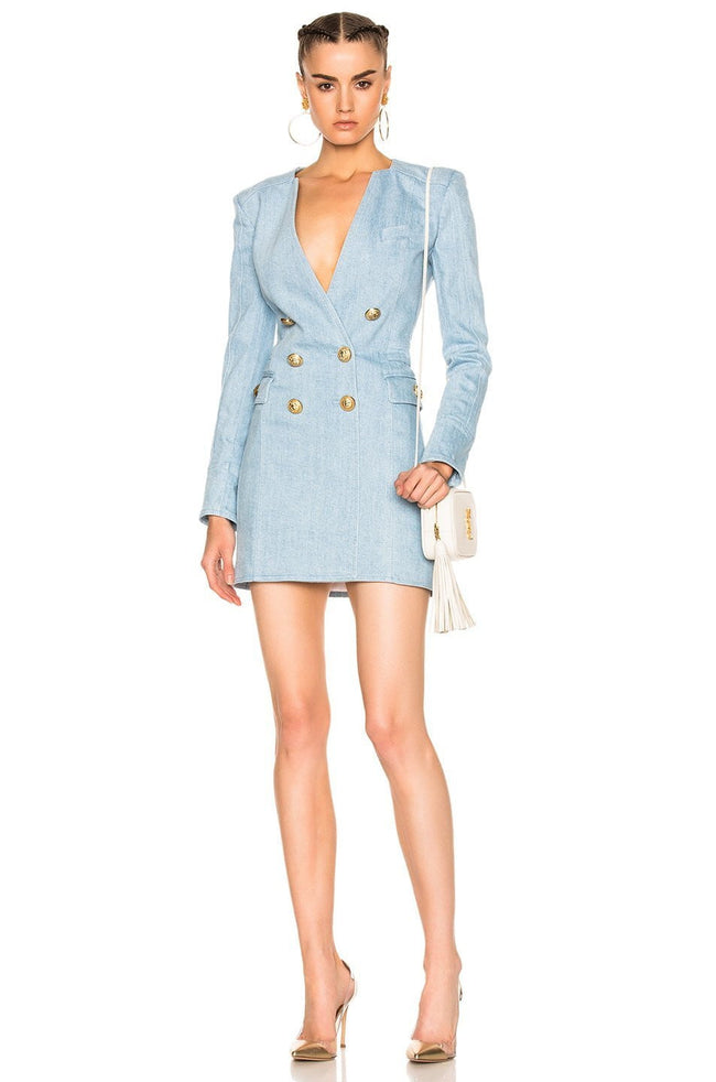 Light Blue Double Breasted Mini Dress - DIOR BELLA