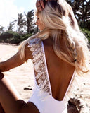 White Open Back  Lace Ruffle Swimsuit - DIOR BELLA