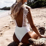 White Open Back  Lace Ruffle Swimsuit
