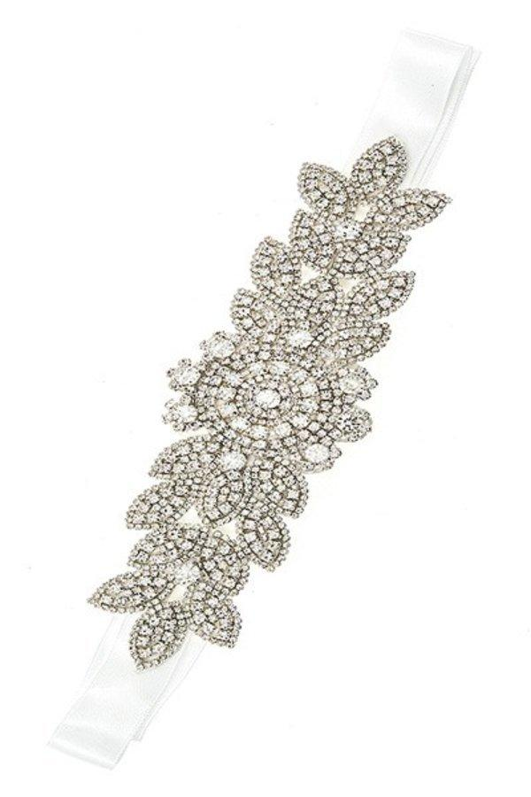 Rhinestone floral detailed slash belt handmade crystal belt - DIOR BELLA