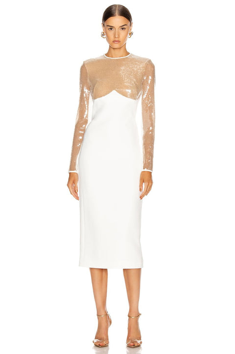 Kimbella Champagne And White Sequin Midi Dress - DIOR BELLA