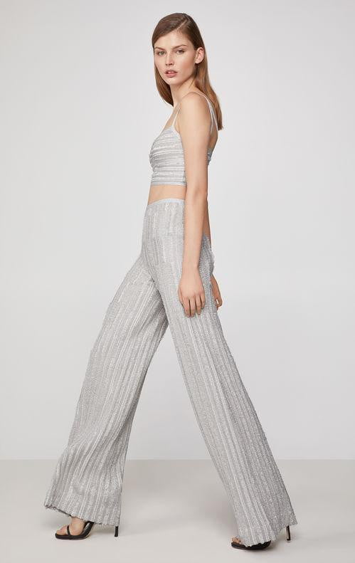 Grey Metallic Luxe Bandage Crop Top Pantsuit - DIOR BELLA