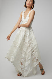 White Pom-Pom  Midi Dress - DIOR BELLA