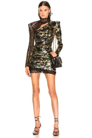 Olive Multi Sequins And Lace Mini Dress - DIOR BELLA