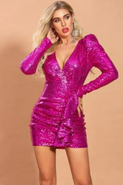 Hot Pink Sequins V-Neck Long Sleeve Cocktail Dress