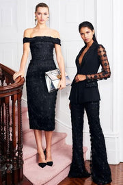 Black Sequins And Mesh Pantsuit - DIOR BELLA