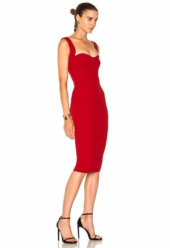 Red Carol Lee Bandage Midi Dress - DIOR BELLA