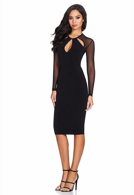Joelle Black Long Sleeve Bandage Midi Dress - DIOR BELLA