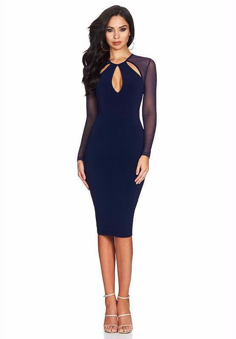 Joelle Long Sleeve Bandage Midi Dress - DIOR BELLA