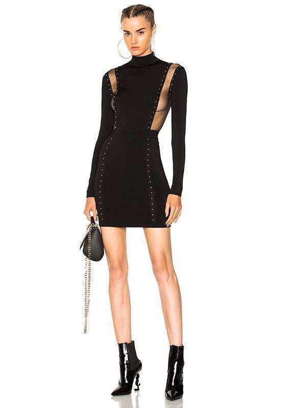 Clark Mock Neck Bandage Mini Dress - DIOR BELLA