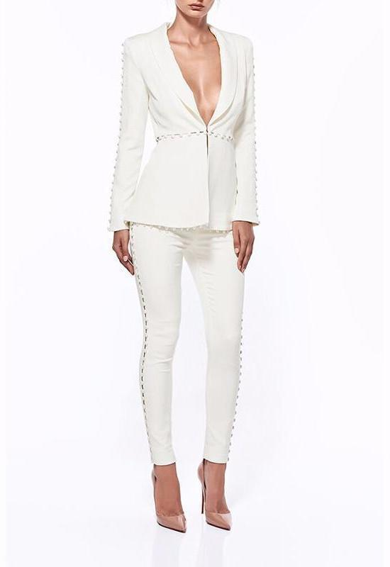 Dior Bella Chic Women S Online Clothing Store White Buttons Pant Suit