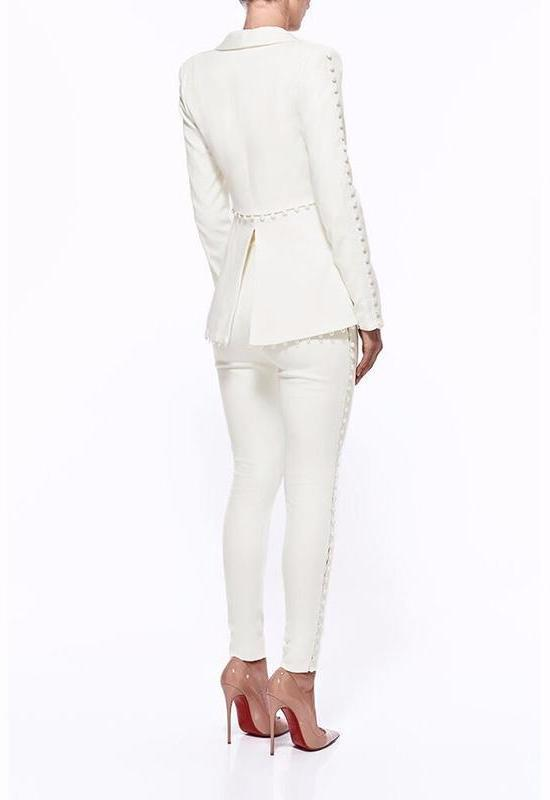 White Buttons Pant Suit - DIOR BELLA
