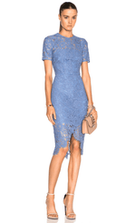 Blue Iris Embroidered Lace High Low Dress - DIOR BELLA
