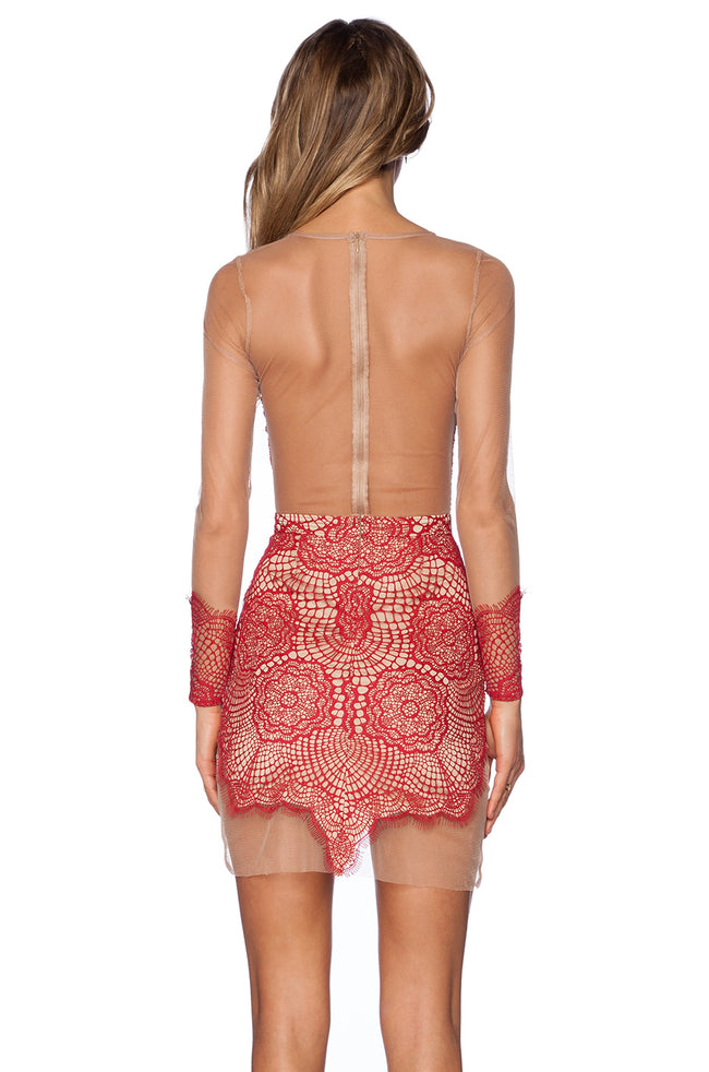 Red Lace Mesh Long Sleeve Bodycon Mini  Dress - DIOR BELLA