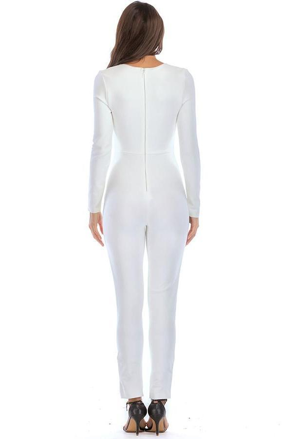 Shay Deep-V Long-Sleeve Six-Button Bandage Jumpsuit - DIOR BELLA
