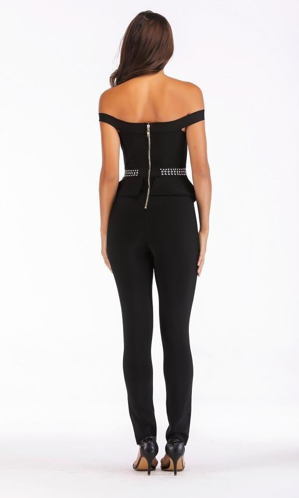Black Off Shoulder Studded Bandage Jumpsuit - DIOR BELLA
